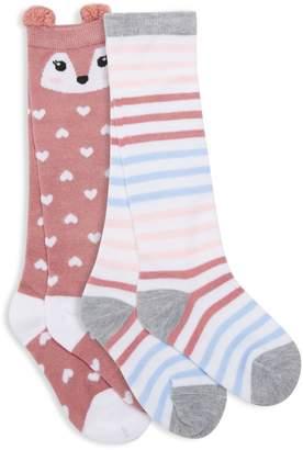 Capelli New York Little Girl's 2 Pack Patterned Knee-High Socks