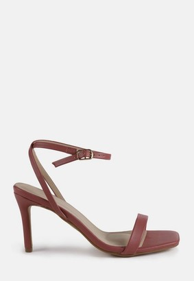 Missguided Mocha Barely There Mid Heel Sandals