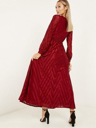 Quiz Chevron Wrap Front Cuff Sleeve Stripe Maxi Dress - Wine