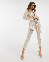 Asos Design DESIGN wrap suit blazer in jersey sequin