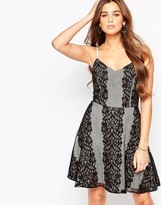Adelyn Rae Lace Paneled Skater Dress