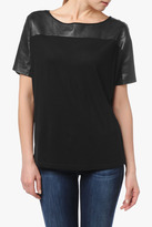 7 For All Mankind Leather Blocked Tee In Black