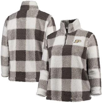 Women's Gray/Cream Purdue Boilermakers Plus Size Plaid Sherpa Quarter-Zip Pullover Jacket