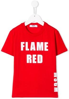 Msgm Kids Flame Red print T-shirt