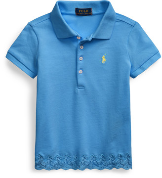 Ralph Lauren Lace-Hem Stretch Mesh Polo
