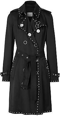 Burberry Women's Boscastle Studded Silk Satin Trench Coat