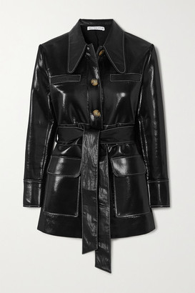 REJINA PYO Felix Belted Patent Faux-leather Jacket - Black