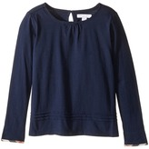 Burberry Giselle Long Sleeve Checked Cuff Top Girl's Clothing