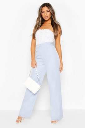boohoo Petite Wide Leg Belted Tailored Pants