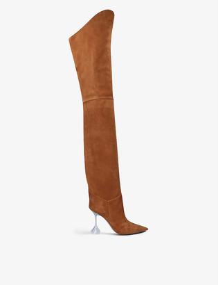 Amina Muaddi Iman suede thigh-high boots