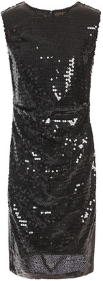 MSGM Ruched Sequined Georgette Mini Dress