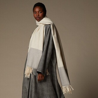 Love & Lore Love And Lore Ticking Stripe Scarf Ivory And Heather Grey
