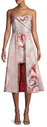Black Halo Eve Caine Floral Draped High-Low Dress