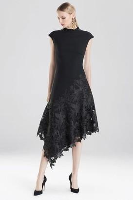 Natori Crepe and Guipure Lace Dress
