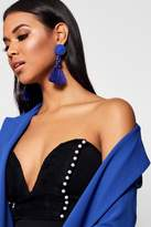 boohoo Megan Floral Tassel Bead Statement Earrings