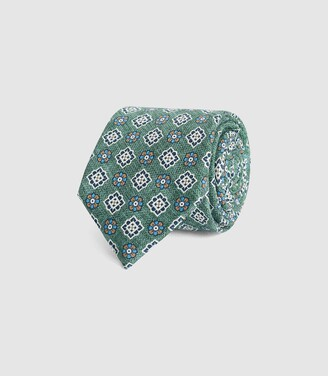 Reiss Pope - Floral Medallion Print Tie in Green