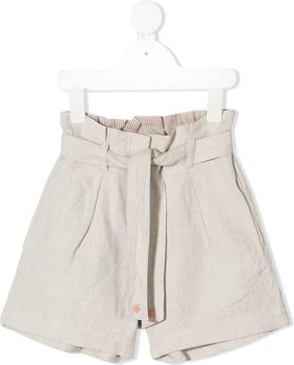 Bonpoint Tie-Waist Embroidered Khadi Shorts