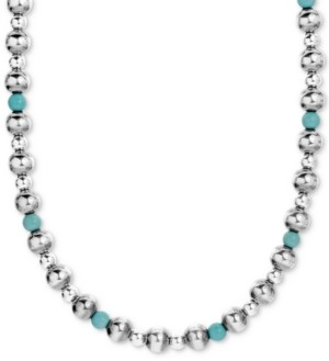 """American West Turquoise Beaded Necklace in Sterling Silver; 15"""" + 2"""" Extender"""