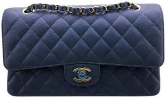 Chanel Classic Double Flap Quilted Iridescent Caviar Gold-tone Medium Blue
