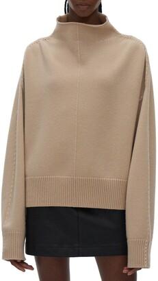 Helmut Lang Wool Blend Jersey Mock Neck Sweater