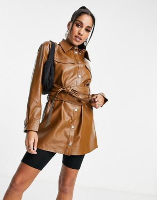 ASOS DESIGN leather-look suit shacket in tan