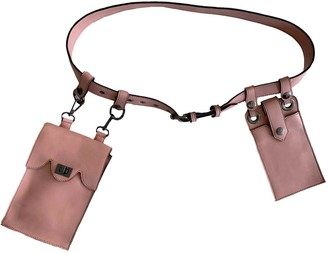 L2r The Label Double Belt Bag In Rescued Pink Leather - Mini Satchel