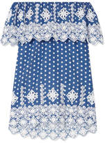 Miguelina Agnes Off-the-shoulder Crocheted Polka-dot Cotton-voile Mini Dress - Cobalt blue