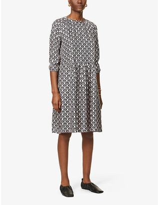 S Max Mara Minorca geometric-print silk-satin midi dress