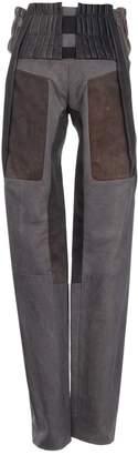 Balenciaga Grey Leather Trousers