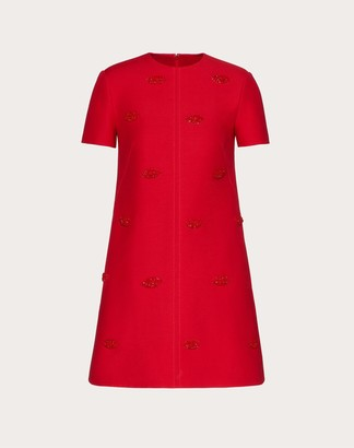 Valentino Short Embroidered Crepe Couture Dress Women Red Silk 35%, Virgin Wool 65% 36