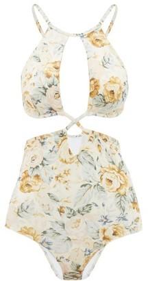 Ephemera - Underwired Cutout Floral-print Swimsuit - Yellow Multi