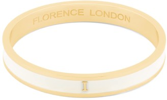 Florence London Initial I Bangle 18Ct Gold Plated With Cream Enamel