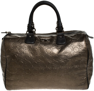 Salvatore Ferragamo Metallic Brown Gancini Embossed Leather Boston Bag