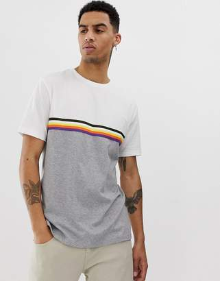 Asos Design DESIGN relaxed t-shirt with contrast color block and taping in gray marl