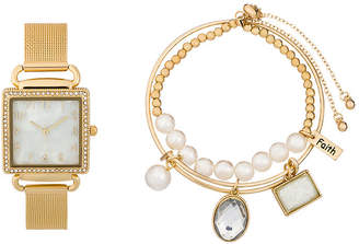 ALEXIS BENDEL Alexis Bendel Pearl Womens Gold Tone 3-pc. Watch Boxed Set-6958g-42-E27