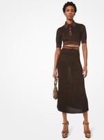 Michael Kors Metallic Knit Pleated Skirt