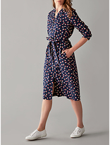 People Tree V&A Seed Print Coat Dress, Navy