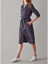 People Tree V&A Seed Print Coat Dress, Navy