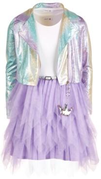 Beautees Big Girls 2-Pc. Sparkle Moto Jacket & Tulle Dress Set