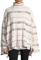 3.1 Phillip Lim Abstract Float-Plaid Drape Back Knit Poncho