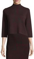Theory Harmona JH Evian Houndstooth Sweater, Black/Sumac