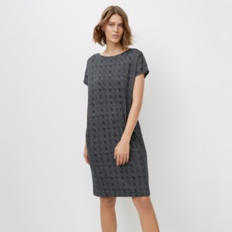 The White Company Jersey Fine Check Print Cocoon Dress, Grey, 4