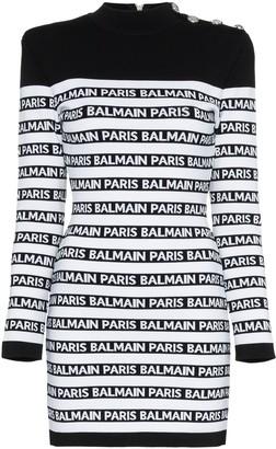 Balmain Fitted Logo Stripe Dress