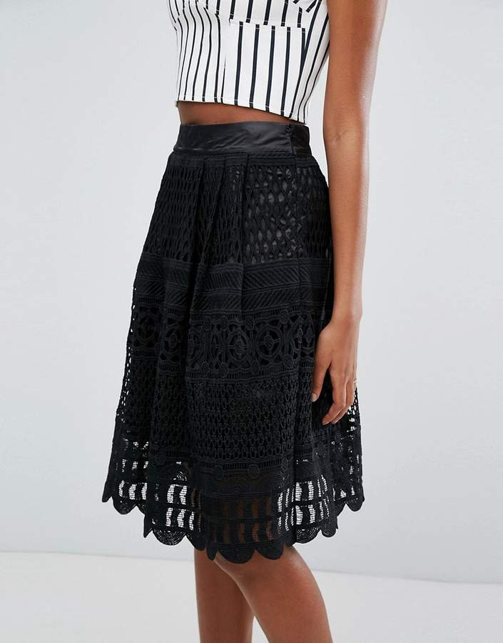 New Look Lace Midi Skater Skirt