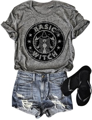 Dresswel Women Basic Witch Funny Letter Print T Shirt Starbucks Print Crew Neck Short Sleeve Tee Top