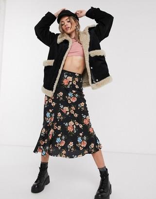 Topshop floral print midi skirt in navy