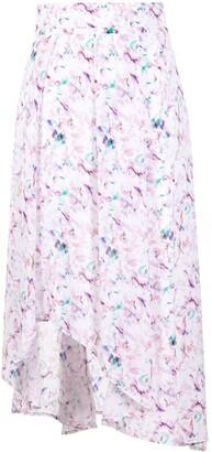 IRO Abstract Print Asymmetric Midi Skirt