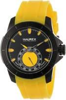Haurex Italy Men's 3N503UYY Acros Black Ion-Plated Coated Stainless Steel Yellow Rubber Strap Watch