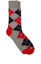 Barneys New York MEN'S ARGYLE MID-CALF SOCKS-GREY