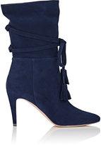 Manolo Blahnik Women's Cavamod Suede Ankle Boots-NAVY
